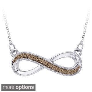 Sterling Silver 1/10ct Brown/ White Diamond Infinity Milgrain Pendant Necklace