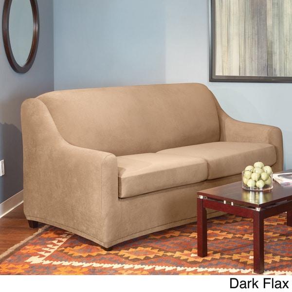 Shop Sure Fit Stretch Pearson Queen 3 Piece Sleeper Sofa