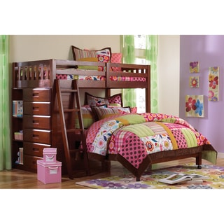 Merlot Finished Twin-over Roll about Full Loft Bed with 6-drawer Chest