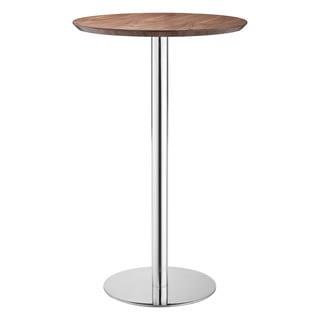 Bergen Walnut and Polished Steel Pedestal 25.5-inch Bar Table