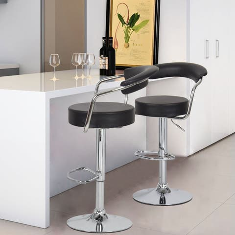 Adeco Black Leatherette Cushioned Adjustable Barstool with Curved Back and Chrome Arms Pedestal Base (Set of 2)