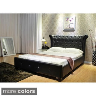 Diamond-tufted Leatherette Queen Upholstered Bed