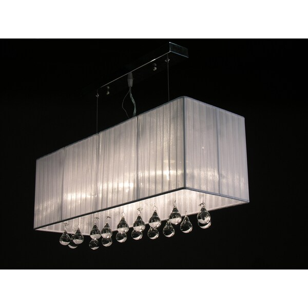 Louie White Crystal 3-light Chandelier