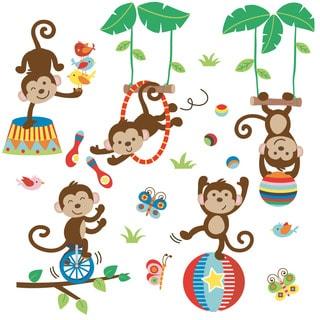 Under the Tree Top Monkeys Peel & Stick Kids Room/ Nursery Wall Decal for Boys & Girls