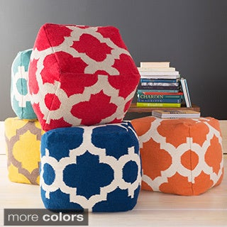 Hand Crafted Moroccan Trellis 18-inch Square Pouf (More options available)