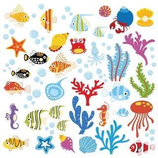 Ocean Wonders Under the Sea Peel & Stick Kids Room/ Nursery Wall Decal for Boys & Girls