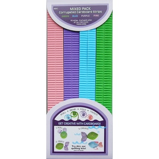 Quilling Paper Corrugated 18.5inX10mm 32/Pkg-Blue, Green & Purple