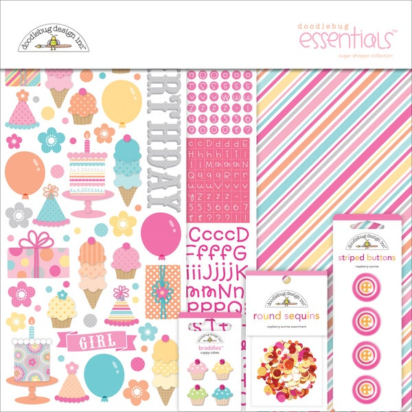 Sugar Shoppe Essentials Page Kit 12inX12in-Cardstock, Stickers & Embellishments