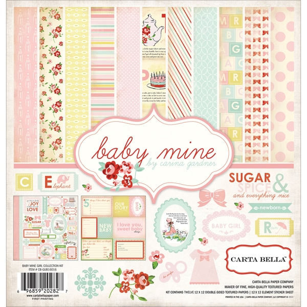 Carta Bella Collection Kit 12inX12in-Baby Mine/Girl
