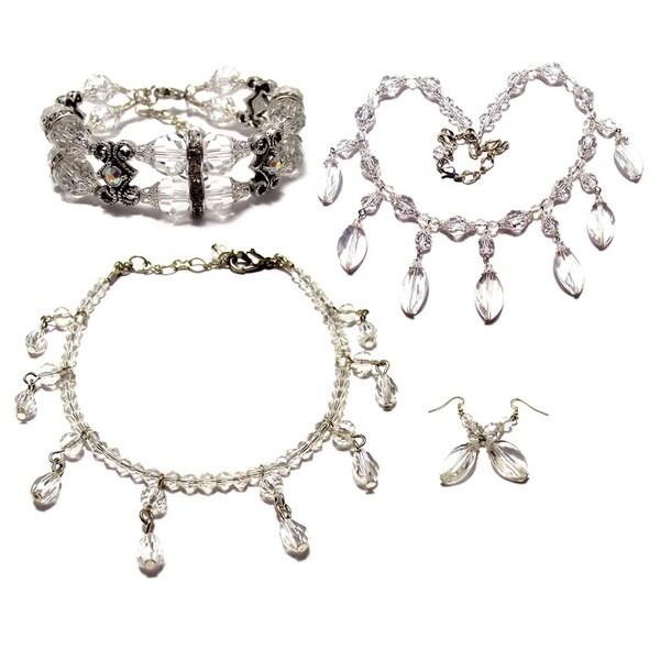 Clear Crystal 4-piece Wedding Jewelry Set