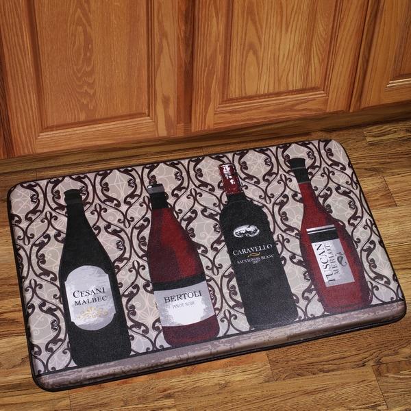 Shop Memory Foam Assorted Wine Design Kitchen Floor Mat