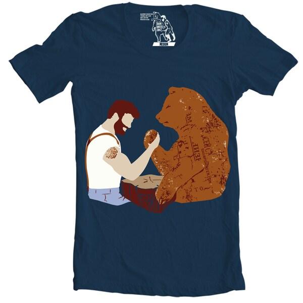 Men's Bear Arm Wrestling Cotton T-Shirt