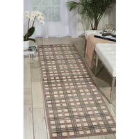 """Nourison Graphic Illusions Ivory Taupe Rug (2'3 x 8) - 2'3""""x 8'"""
