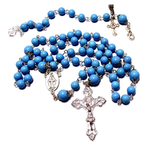 Light Blue Glass Bead Rosary and Bracelet Set