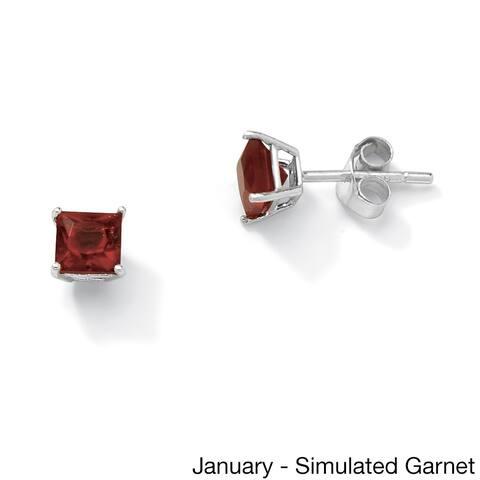 Princess-Cut Birthstone Sterling Silver Stud Earrings Color Fun