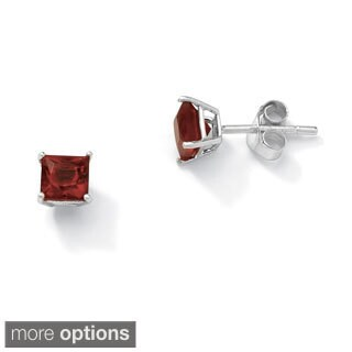 Princess-Cut Birthstone Sterling Silver Stud Earrings Color Fun