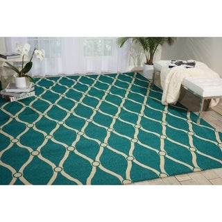Nourison Portico Aqua Indoor/ Outdoor Area Rug (3'6 x 5'6)