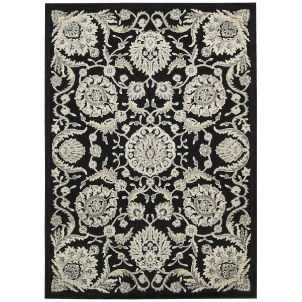 Nourison Graphic Illusions Floral Scroll Black Rug (5'3 x 7'5)
