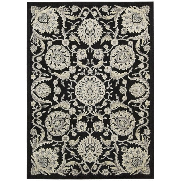 Nourison Graphic Illusions Floral Scroll Black Rug - 5'3 x 7'5