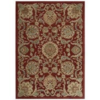 Nourison Graphic Illusions Floral Scroll Red Rug - 5'3 x 7'5