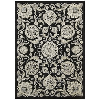 Nourison Graphic Illusions Floral Scroll Black Rug (3'6 x 5'6)