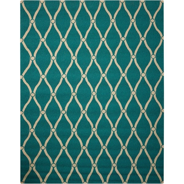 Nourison Portico Aqua Indoor/ Outdoor Area Rug - 10' x 13'