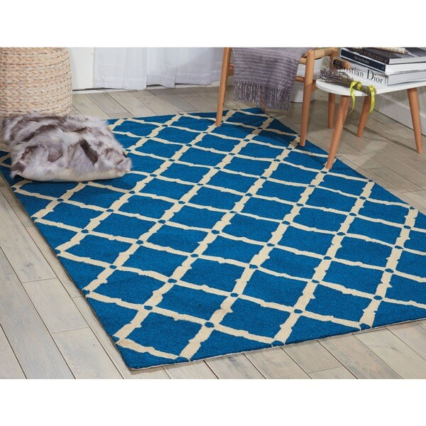 nourison portico navy indoor outdoor area rug 10 39 x 13 39 free shipping today. Black Bedroom Furniture Sets. Home Design Ideas