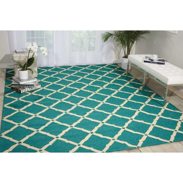 Shop Nourison Portico Aqua Indoor Outdoor Area Rug 10 X