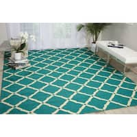 Nourison Portico Aqua Indoor/ Outdoor Area Rug (10' x 13') - 10' x 13'