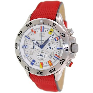 Nautica Men's N24515G Red Resin Quartz Watch with Silvertone Dial