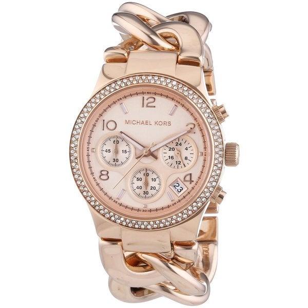 8742a9a4338f Shop Michael Kors Women s MK3247 Runway Twist Rosegold Watch - Free ...