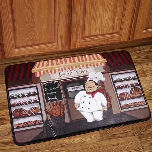 memory foam happy chef design kitchen floor mat - free shipping on