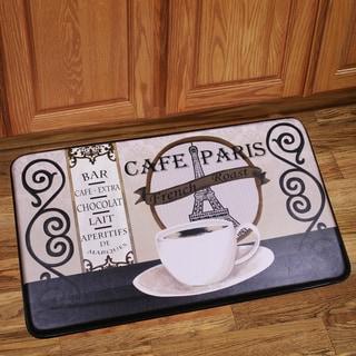 Memory Foam Cafe Paris Design Kitchen Floor Mat