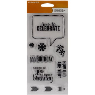 Fiskars Clear Stamp 4inX8in-Time To Celebrate