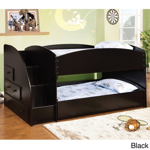Furniture of America Ned Contemporary Twin/Twin Bunk Bed with Storage