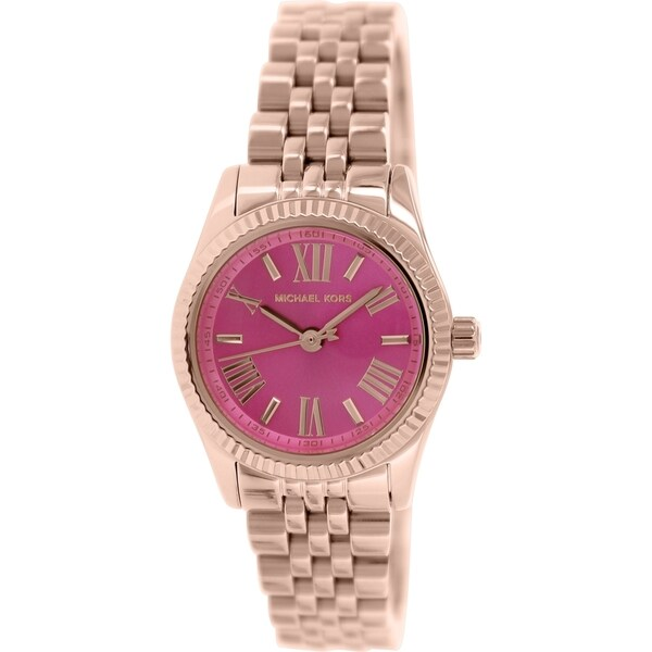 8a3c312d4f4e Shop Michael Kors Women s MK3285 Mini Lexington Pink Rose Goldtone Watch -  Free Shipping Today - Overstock - 9194251