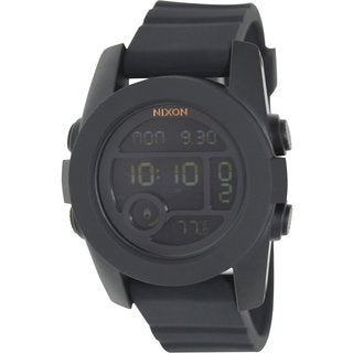Nixon Men's Unit A490001 Black Rubber Quartz Watch with Digital Dial