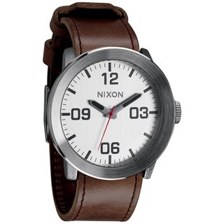 Nixon Men's Corporal A2431113 Brown Leather Quartz Watch with White Dial