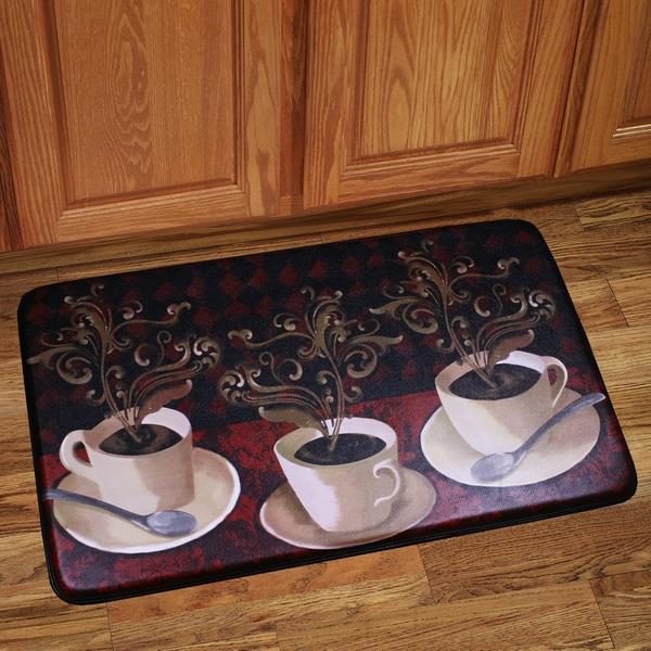 Shop Memory Foam Cafe Lotus Design Kitchen Floor Mat