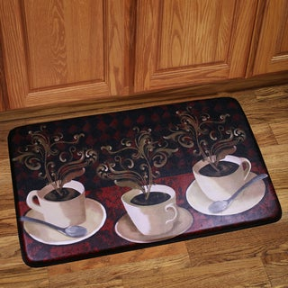 Memory Foam Cafe Lotus Design Kitchen Floor Mat