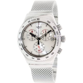 Swatch Men's Irony YVS405G Silver Stainless-Steel Swiss Quartz Watch with Grey Dial