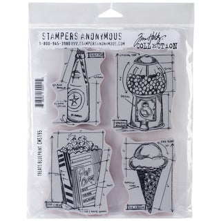 Tim Holtz Cling Rubber Stamp Set 7inX8.5in-Treats Blueprint