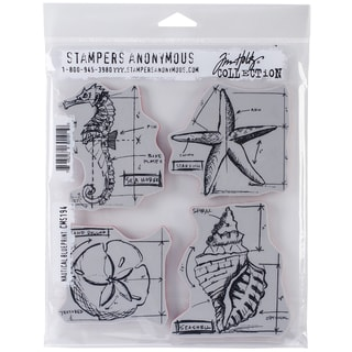 Tim Holtz Cling Rubber Stamp Set 7inX8.5in-Nautical Blueprint
