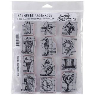 Tim Holtz Cling Rubber Stamp Set 7inX8.5in-Mini Blueprints #6