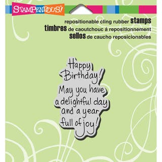 Stampendous Cling Rubber Stamp 3.5inX4in Sheet-Delightful Birthday|https://ak1.ostkcdn.com/images/products/9194446/P16367173.jpg?impolicy=medium