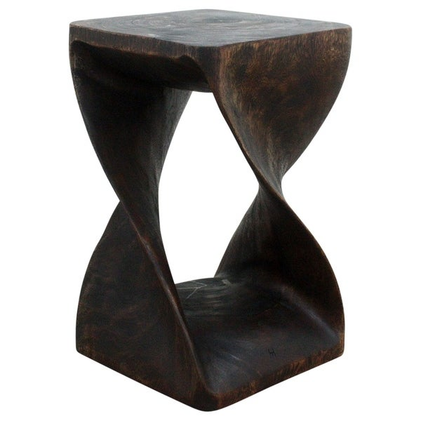 "Handmade Original Wood Twist Stool/End Table (Thailand) - 12"" x 12"" x 20"""