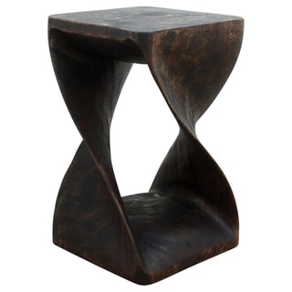 Hand-carved 12 x 20 Mocha Oiled Twisted Acacia Wood Stool (Thailand)