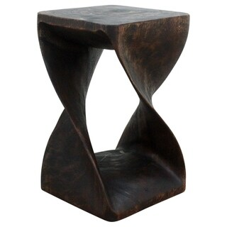 Handmade 12 x 20 Mocha Oiled Twisted Acacia Wood Stool (Thailand)