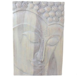 Hand-carved 36-inch Agate Grey Oiled Ushnisha Buddha Panel (Thailand)