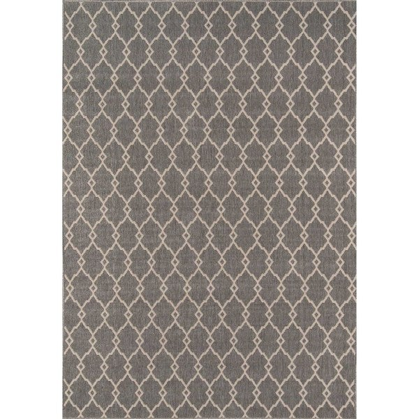 Momeni Baja Trellis Grey Indoor/Outdoor Area Rug (8'6 x 13')